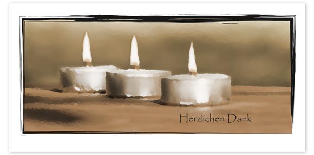Trauerkarten Motiv Teelichter 019KE