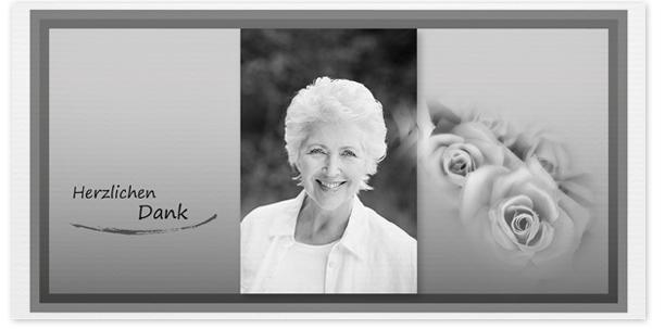 Trauerkarten Motiv Portrait mit Rosen 022 SO
