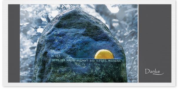 Trauerkarten Motiv Grabstein mit Sonne 020 SU