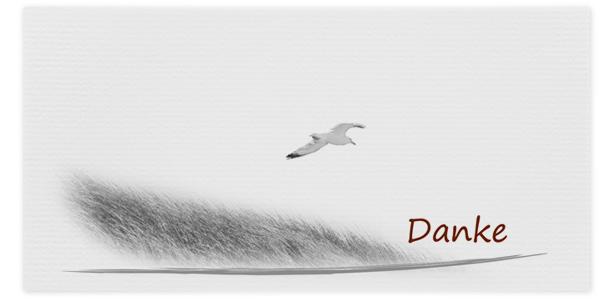 Danksagung Motiv Möwe fliegt über Dünen 015 VO