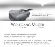 Traueranzeige Motiv A 015 IN - Gitarre, Instrument