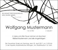 Traueranzeige Motiv A 017 AS - Vogel, Ast, Baum