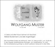 Traueranzeige Motiv A 016 SO - Grabstein, Buch, Rose