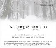 Traueranzeige Motiv A 021 WE - Schnee, Winter, Weg, Wald