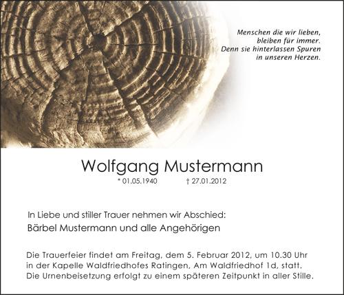 Traueranzeige Motiv Baumstamm A 017 BA