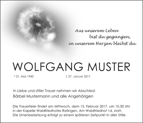 Traueranzeige Motiv Pusteblume; Löwenzahn A 018 BW