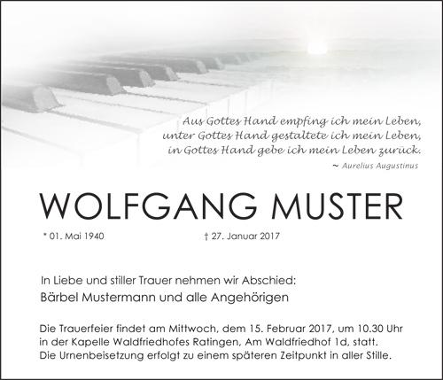 Traueranzeige Motiv Klaviertastatur A 016 IN