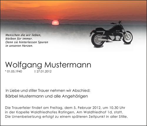 Traueranzeige Motiv Motorrad A 029 SO