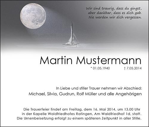 Traueranzeige Motiv Mond mit Segelboot A 016 ST