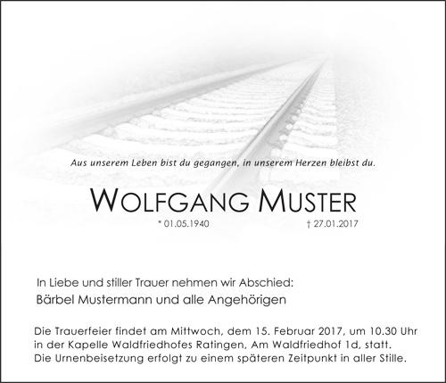 Traueranzeige Motiv Bahngleis , Gleise, Zug A 040 SO