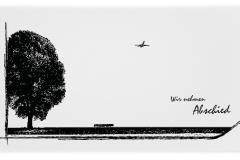 Trauerkarte, Bilder, Flugzeug, Baum, Motiv - Nr. 016 BA