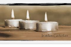 Trauerkarte, Bilder, Teelichter, Kerze Motiv - Nr. 019 KE