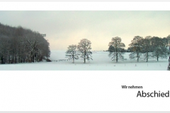 Trauerkarte, Bilder, Winterlandschaft, Schnee, Bäume, Abschied, Motiv - Nr. 016 LA