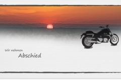 Trauerkarte, Bilder, Motorrad, Sonnenuntergang, Abschied, Trauer, Motiv - Nr. 029 SO