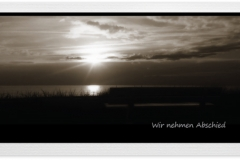 Trauerkarte, Bilder, Sonnenuntergang, Bank, Meer, Abschied, Trauer, Motiv - Nr. 022 SU
