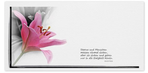 Trauerkarten Motiv Lilien 025 BL