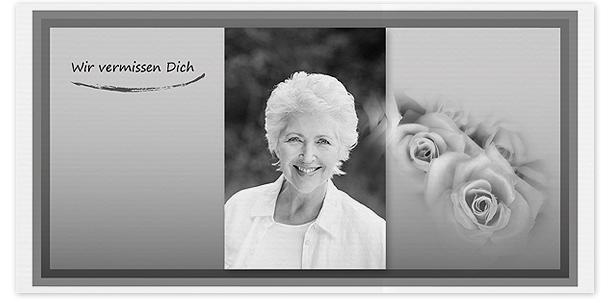 Trauerkarten Bilder Motiv Portrait mit Rosen 022 SO