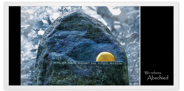 Trauerkarten Motiv Grabstein mit Sonne 020 ST