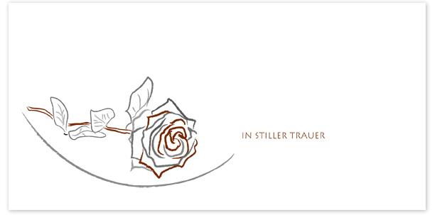 Trauerkarten Motiv gezeichnete Rose 040 SY