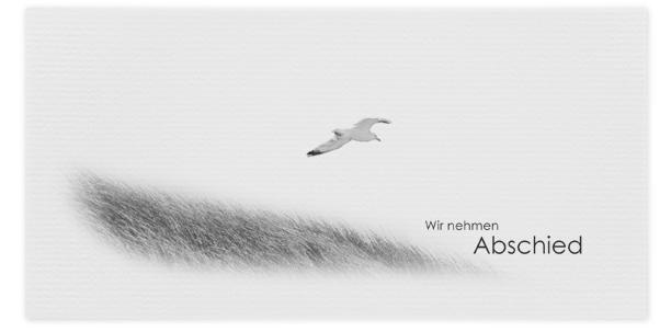Trauerkarten Motiv Möwe fliegt über Dünen 015 VO