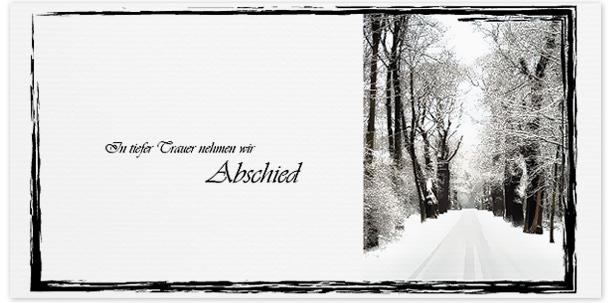 Trauerkarten Motiv verschneite Baumallee 016 WE