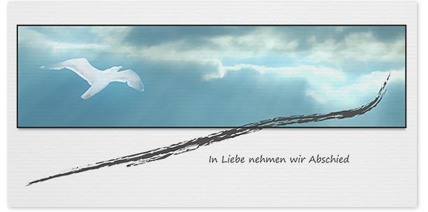 Trauerkarten Motiv Möwe Wolken 016 WO