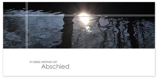 Trauerkarten Motiv Sonne spiegelt im Wasser 018 WS