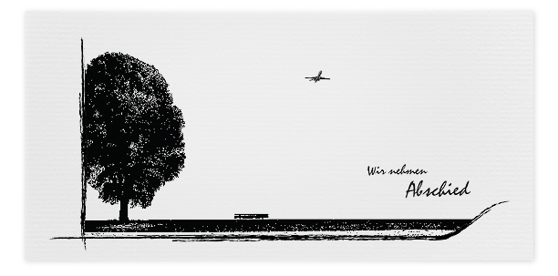 Trauerkarte Flugzeug Baum Motiv - Nr. 016 BA