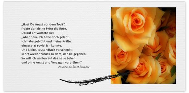 Trauerkarte Rosen Motiv - Nr. 015 BL