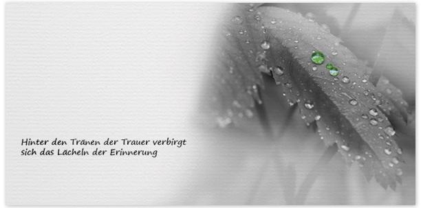 Trauerkarte Regentropfen - Nr. 022 BL