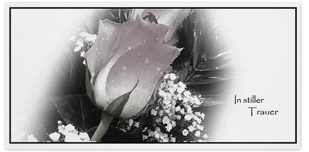 Trauerkarte Rose  Motiv - Nr. 030 BL
