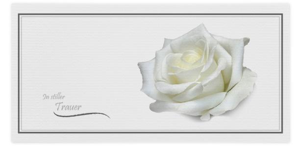 Trauerkarte weiße Rose Motiv - Nr. 031 BL