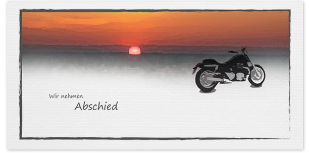 Trauerkarte Motorrad  Motiv - Nr. 029 SO