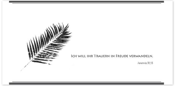Trauerkarte Palmenzweig Motiv - Nr. 025 SY