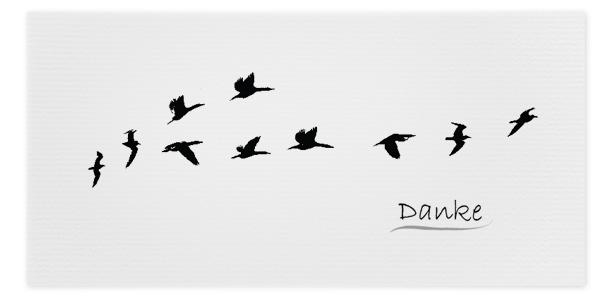 Danksagungskarte Kraniche online bestellen Trauerfall Vögel Abschied online bestellen