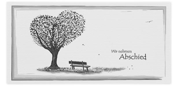 Trauerkarte Bank mit Baum in Herzform Motiv - Nr. 015 BN